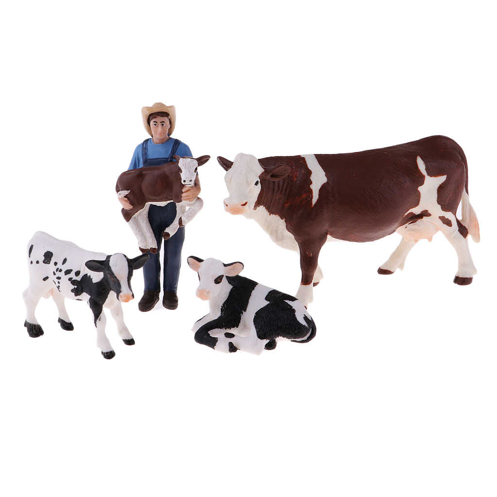 Plastic Farm Animals Toy Realistic Farm Animal Model Action Figure Collectible - Farmer & 4 Cows