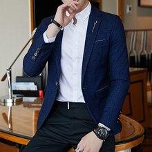 Весенний мужской блейзер в полоску, Модный деловой Тонкий мужской пиджак для свадьбы, большой размер, для банкета, свадьбы, вечеринки, клуба, мужская одежда
