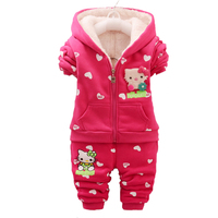 Baby Girls Winter Thick Warm Clothing Set Korean Kids Christmas Clothes Set Children Coat Pant 2pcs