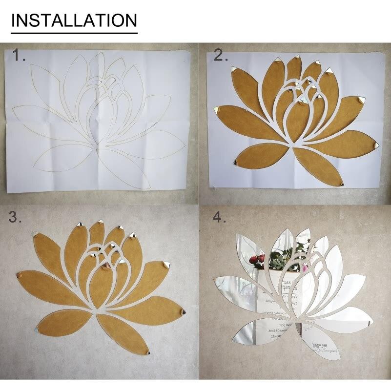 Ustvarjalno eleganten Lotus 3D dekorativno akrilno ogledalo stenske - Dekor za dom - Fotografija 6