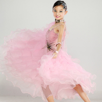 New High Quality Kids Girls Pink White Waltz Tango Dancing Competition Standard Ballroom Dress Children