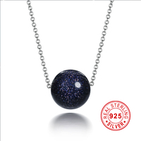 I Zuan 925 Sterling Silver Jewelry Necklace Trendest Style Dark Blue Bead Pendant Clavicular Necklace Fine