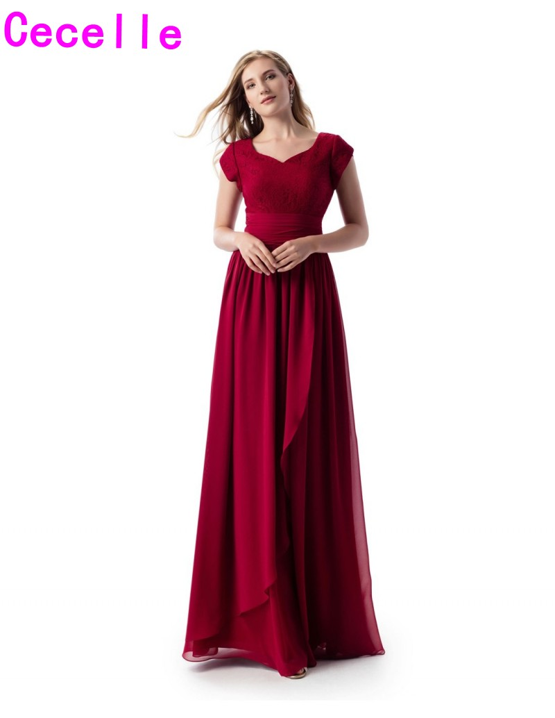 Dark Red Lace Chiffon A-line Long Modest   Bridesmaid     Dresses   With Cap Sleeves Sweetheart Adult Women Temple Maids of Honor   Dress
