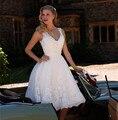 Новый короткий невесты платья Большой размер чай свадебные платья бальное платье 2015 старинные белые кружева свадебные платья Vestido Noiva курто