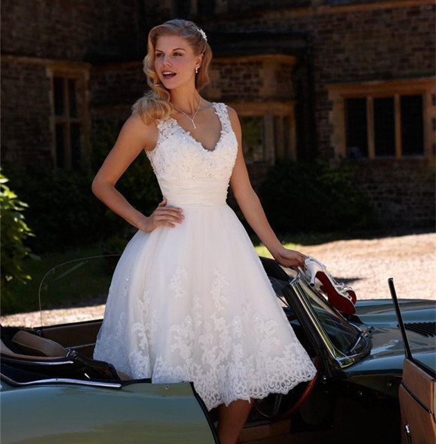 Nuevo corto vestidos novia más tamaño novia de longitud de té ...