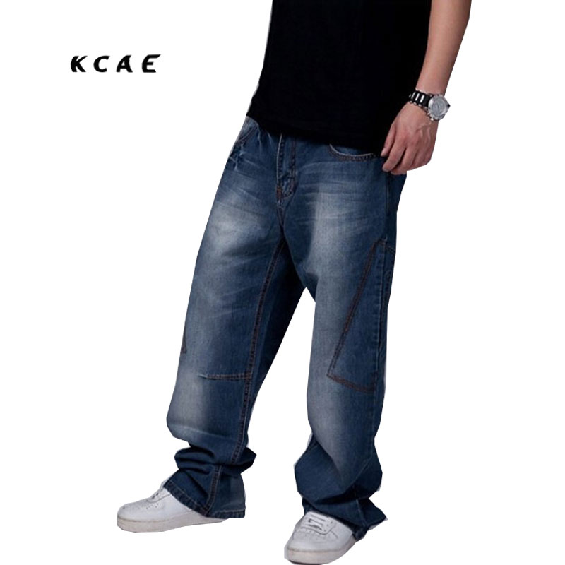 Large Size Jeans Male Hip Hop Baggy Jeans , Men's Loose Big Yards Straight Trousers Size 30-46 hot new large size jeans fashion loose jeans hip hop casual jeans wide leg jeans
