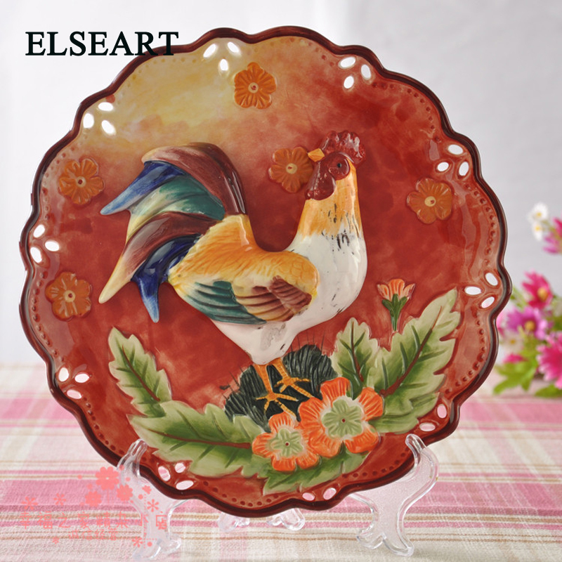 Ceramic country style cock decorative dish animal porcelain plates for wall hanging home decorative