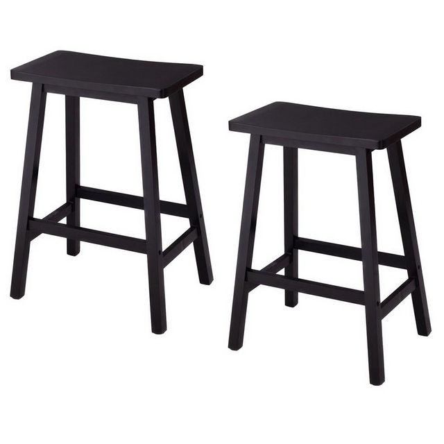 24 Height Bar Stools Kitchen Dining Room Saddle Seat Wooden Counter Stool 2 Pcs Us