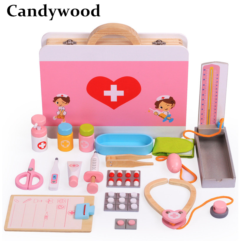 Candywood Pretend Play tooth doctor Wooden Junior Nurse Medical Kids Classic Pretend Game Play Doctor Toys for girls gift toy шорты женские stussy jamrock shorts pink