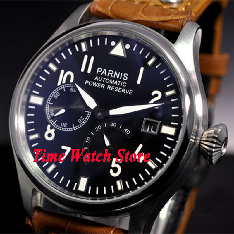 Parnis watch 47mm date adjust black dial Black and Brown strap power reserve ST2530 Automatic movement Men's watch 98 цена и фото