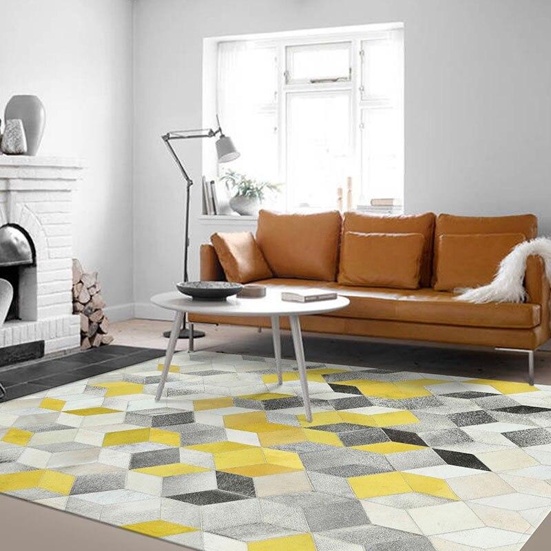 Peau de vache Patchwork bloc de fourrure effet tridimensionnel tapis tapis géométrie salon canapé chambre cousu main en cuir tapis