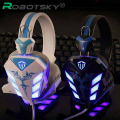 Cosonic Auriculares Gaming USB + 3.5mm Gaming Headset Diadema Auricular con Micrófono de Cancelación de Ruido Led para PC Gamer