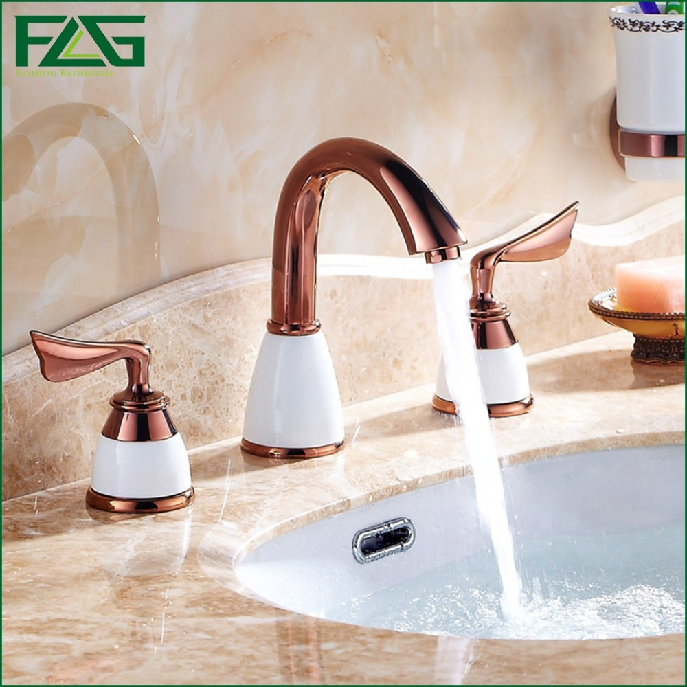 Free shipping Bathroom Faucet 3 Holes Double Handle Rose Golden Basin Sink Water Taps Solid Brass In The Bathroom Products 313M solid brass bathroom sink tub faucet double handle hot