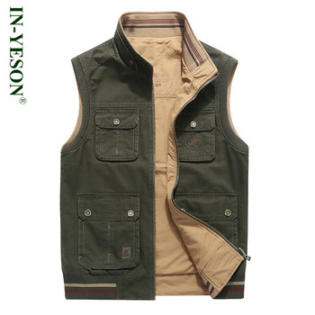 Military vest men stand collar cotton embroidery reversible vest army tactical sleeveless jacket colete masculino plus size 8XL