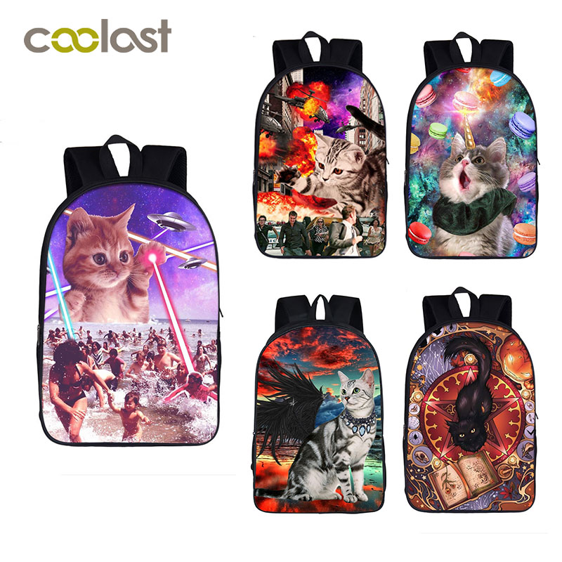 Alien Laser Space Cat Backpack for Teenage Girls Boys Children School Bags Cat with Black White Angel Wing Women Laptop Backpack image