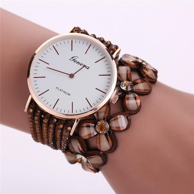 Women Elegant Quartz Bracelet With Crystals