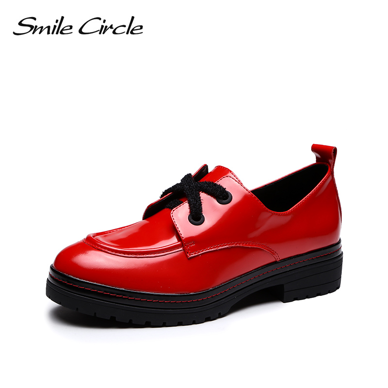 smile circle Patent leather flats women shoes casual fashion Simple Lace up Round toe 2018 Spring autumn platform ladies shoes memunia spring autumn fashion lace up ladies shoes med heels square toe high quality patent leather black casual shoes