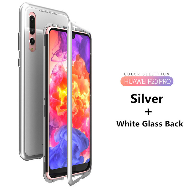 Magnetic Adsorption Case for Huawei P20 P20 Pro 9H Tempered Glass Back Cover Luxury Metal Aluminum Phone Case for Huawei P20 Pro