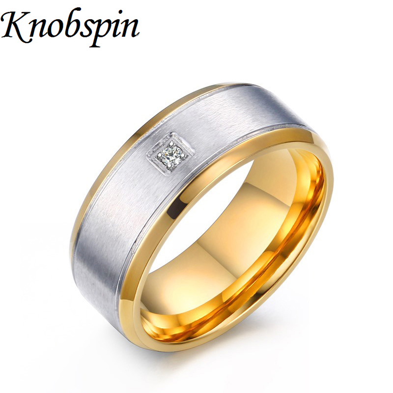 fashion stainless steel ring men white crystal jewelry wedding band bague homme gold color anel masculino - Wedding Ring Man