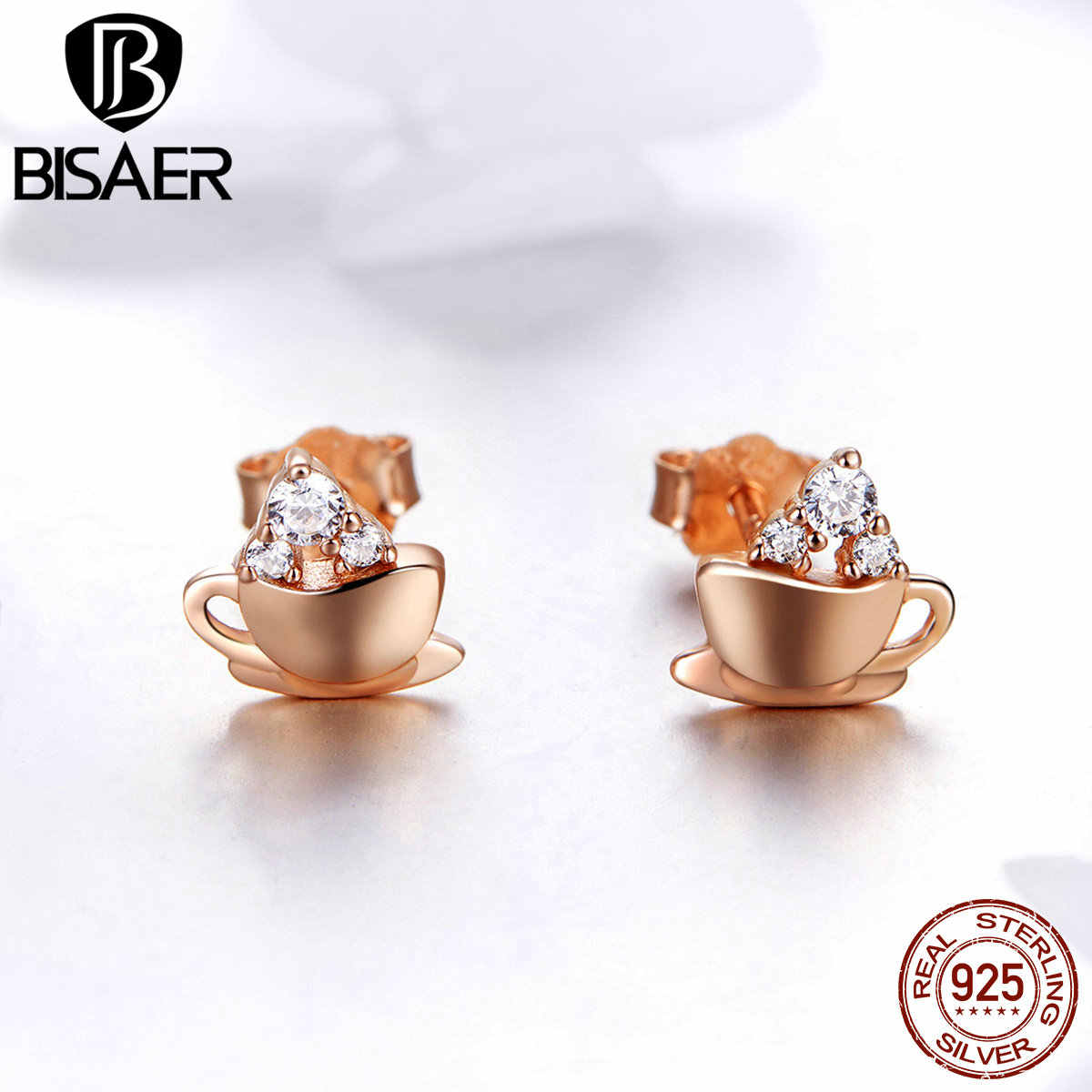 BISAER 100% 925 Sterling Silver Coffee Cup Exquisite Women Stud Earrings High Tea Shape Fashion Earrings Silver Jewelry ECE592