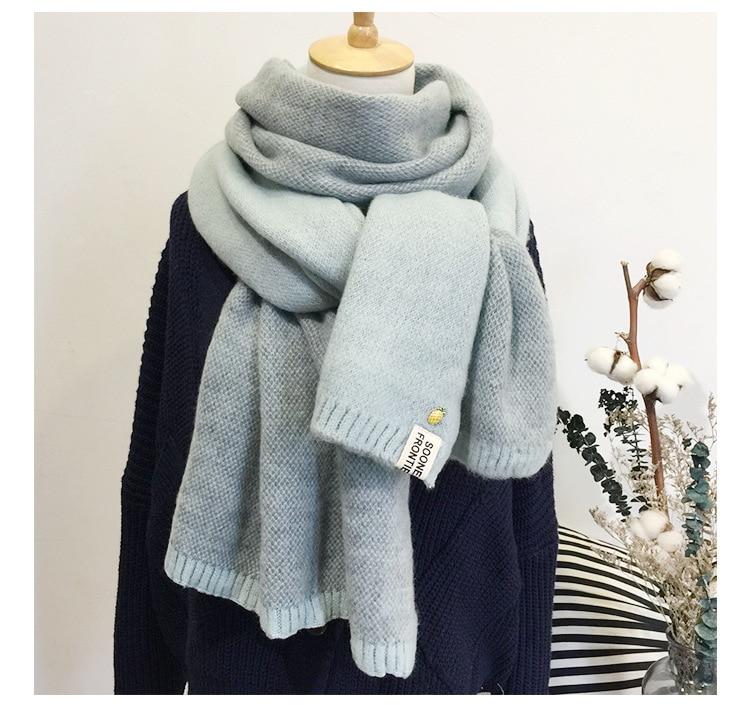 Женский шарф, милый зимний шерстяной вязаный шарф, теплые мягкие шарфы с двойным лицом, хлопковые шарфы для женщин и мужчин, 2019