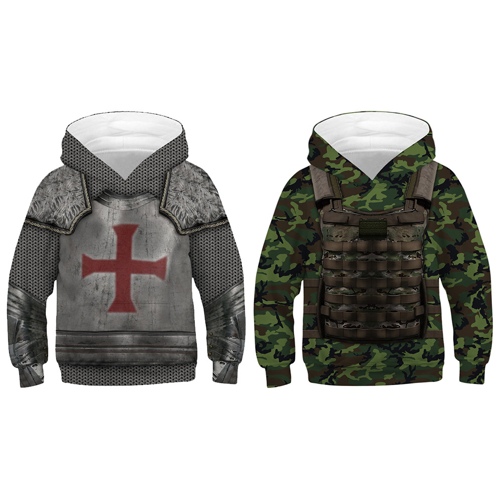 2019 New 3D  printed Hoodies Printed Armor Hooded 3D Sweatshirts Hip Hop Hoody Tops Baseball uniform children clothing(China)