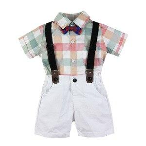 Image 2 - תינוק ילד Romper חליפת עבור תינוק בגדי קשת נטלמן פורמליות ילדי חולצה משובצת + לבן חגורת מכנסיים יילוד בגדי סט