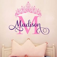 G067 Personalise Custom Baby S Name Letter Words Princess Crown Vinyl Wall Decal Sticker For Kids Room Decor Art Decoration