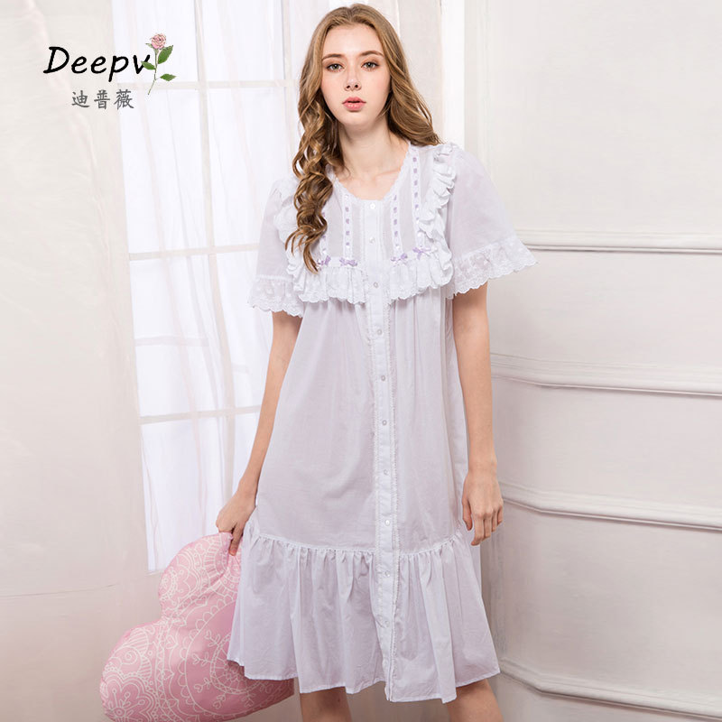 b169b630d Summer New Arrivals Lace Nightgowns Sleepshirts Solid Sleepwear Vintage Nightgown  Female Soft Home Dress Cute Nightgown