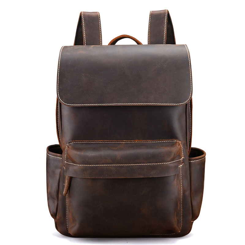 <font><b>Genuine</b></font> <font><b>Leather</b></font> <font><b>Backpacks</b></font> Bag Men Crazy Horse <font><b>Leather</b></font> School Bags <font><b>Unisex</b></font> <font><b>Leather</b></font> Travel Bag Male Laptop Bag image