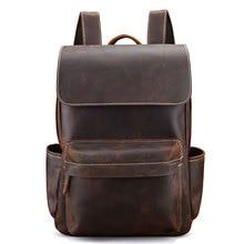 Genuine Leather Backpacks Bag Men Crazy Horse Leather School Bags Unisex Leather Travel Bag Male Laptop Bag цены