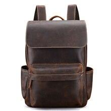 цена на Genuine Leather Backpacks Bag Men Crazy Horse Leather School Bags Unisex Leather Travel Bag Male Laptop Bag