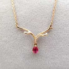 Ruby Pendant Necklace with Diamond Encrusted 0.28+0.02ct 18K Rose Gold Gemstone Fine Jewelry for Women