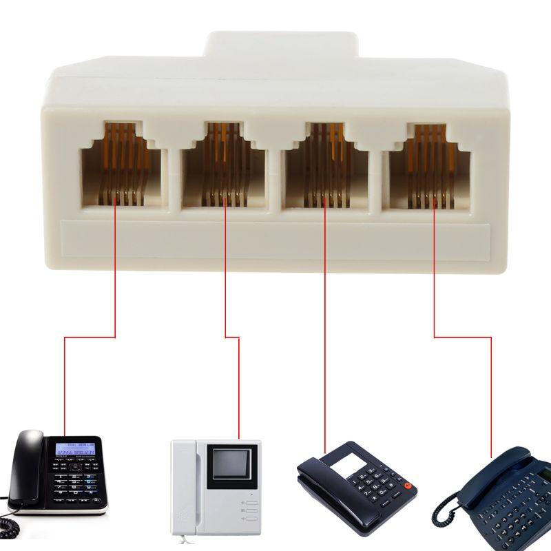 1PC RJ11 Splitter 3 Way Adapter 1 M To 4 F RJ-11 6P4C Phone Jack Splitter