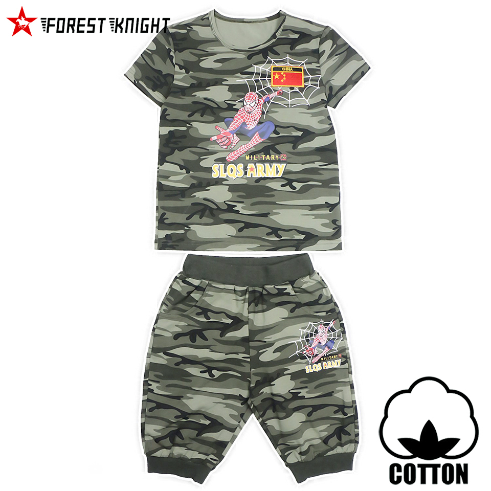 army camo cotton 4-14 years boy t shirt sets clothing short sleeve outdoor camping military paintball kid children sports 9108