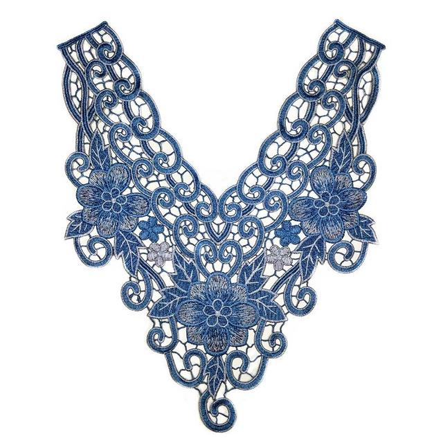 1PC x Long Blue Flower Embroidery Neckline Lace Applique Trim Collar Black  Base Sewing DIY Crafts 10d6f8df36f1