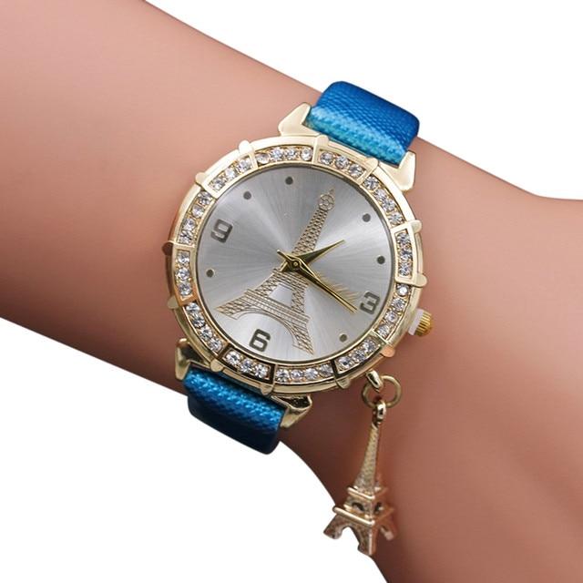 2018 Hot sale Women Quartz Wrist The Eiffel Tower Rhinestone pendant Wrist Watch Female Clock relogio feminino P30