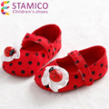 Toddler Girls Fashion Princess Polka Dot Fretwork Soft Bottm Ladybug petal First Walkers Baby Girl Shoes