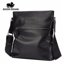 BISON DENIM Cowhide Genuine Leather 10.5″Crossbody Bag Mens Black Shoulder Bag Casual Male Messenger Bag N2408-1B
