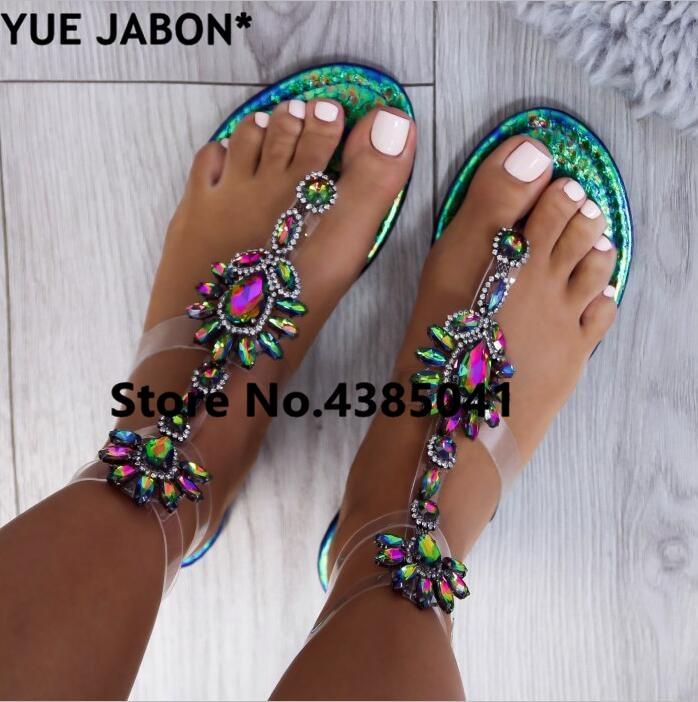 2019 shoes woman sandals women Rhinestones Chains Flat Sandals Thong Crystal Flip Flops sandals gladiator sandals 43 free ship