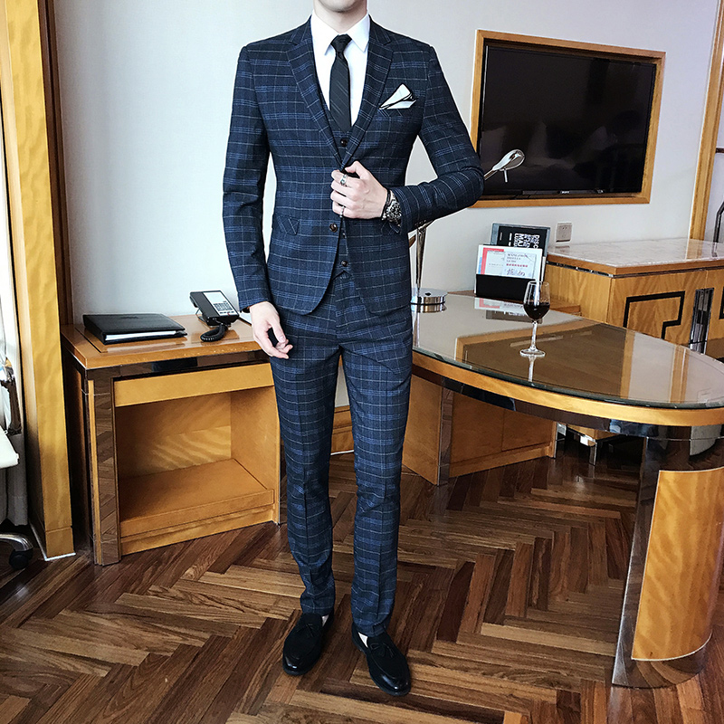 2019 New Men'S Fashion Check Wedding Suit Three-Piece High Quality Male Formal Business Casual British Slim Suit Set