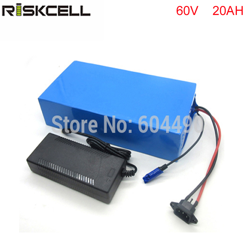 No Tax Scooter ebike Battery 60V 20Ah Electric Bike Battery DIY 60V 2000W Lithium ion Battery Pack with BMS 67.2V 2A Charger 2 wheel electric balance scooter adult personal balance vehicle bike gyroscope lithuim battery