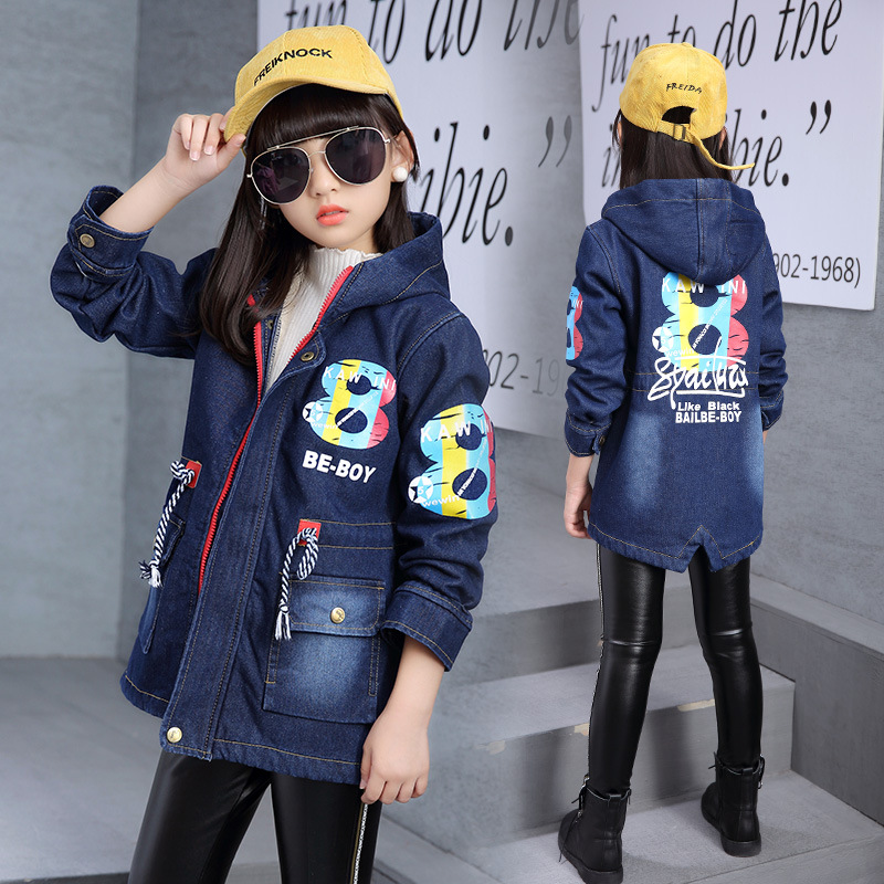 Fleece Thicken Thermal Big Boys Girls Long Denim Jacket Spring Fall 120-170cm Coat Teenagers Childrens ClothingFleece Thicken Thermal Big Boys Girls Long Denim Jacket Spring Fall 120-170cm Coat Teenagers Childrens Clothing