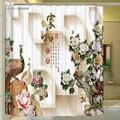 2016 Новый Промоушен Рождество Душ Занавес Традиционный Китайский 3d Резьба Печати Занавески Для Душа Цветы Уникальный Для Ванной Комнаты