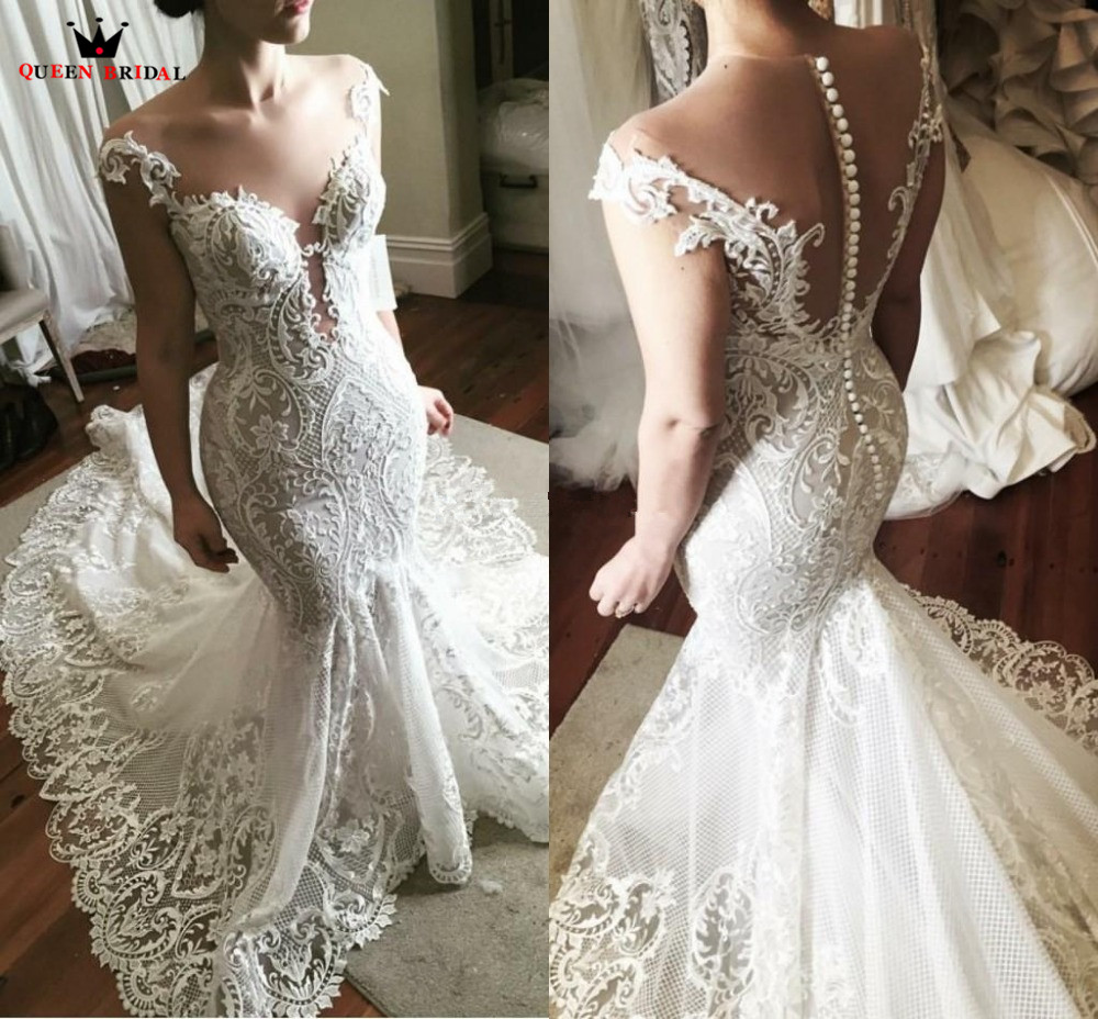 Vintage Sexy Big Train Mermaid Open Back Tulle Lace Appliques Luxury Wedding Dress Bride Dresses Custom Size SC02