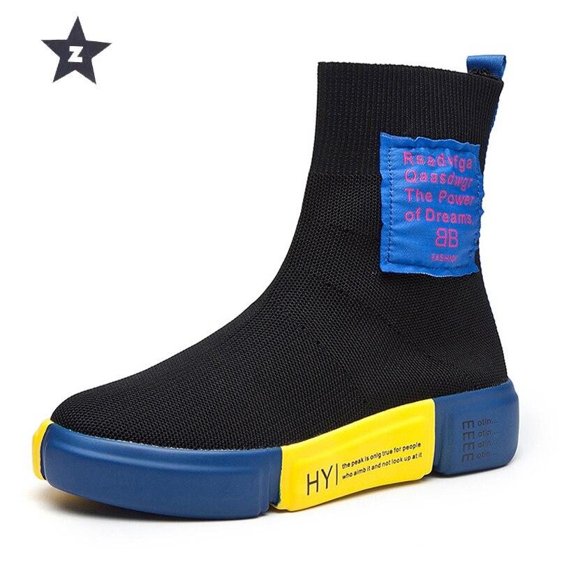 Z femmes bottes plate-forme bottes femmes respirant chaussettes chaussures femmes chaussures tendance élastique tricot détente chaussures mi-mollet bottes size35-40