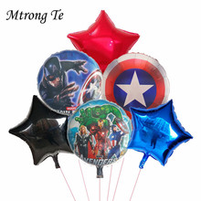 6pcs Super Hero Avengers Spiderman Batman 18inch star Foil Balloon Children Birthday Party baby shower Supplies boy kid Toys