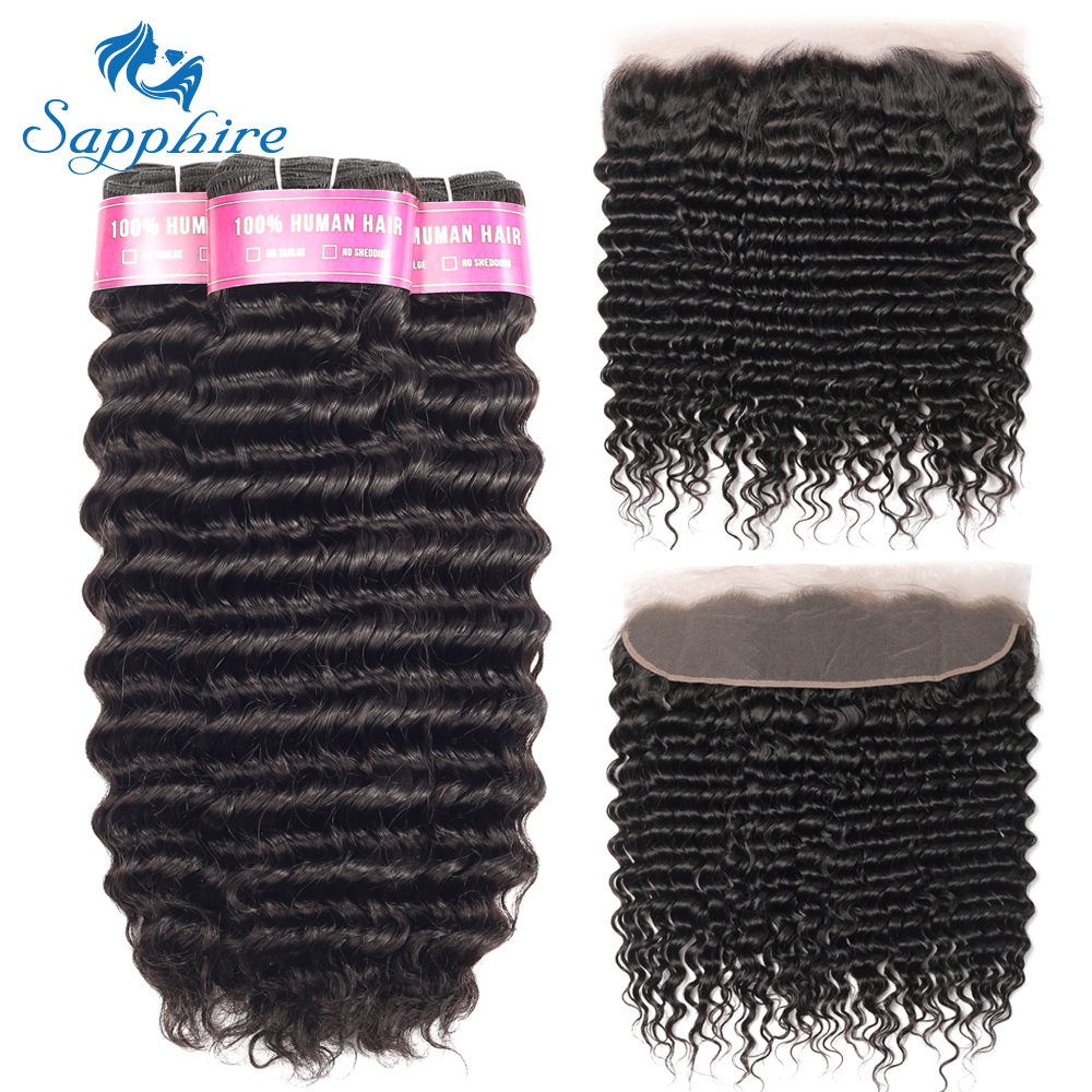 Sapphire Hair Peruvian Deep Wave Bundles With Frontal Ear To Ear Lace Frontal With Bundles remy