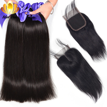Aliafee Brazilian Straight Hair Bundles With Closure Non Remy Hårväv 4 Bundle Deals 100% Human Hair Bundles With Closure