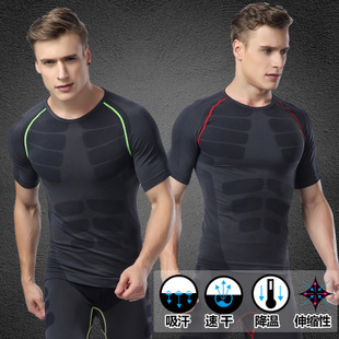 New special men's short sleeve tight movement press comfortable body shaping clothes breathable CoolMax tops